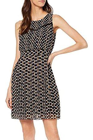 Yargıcı Womens 9YKEL7122X Pleated Round Collar Sleeveless Dress - Multicolour - 16