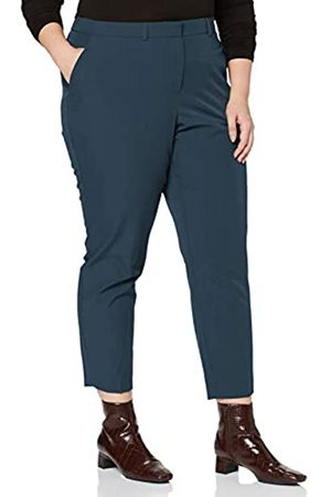 Dorothy Perkins Curve Women's Petrol Elastic Back Ankle Grazer Trousers