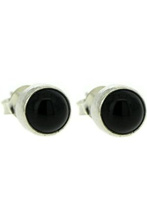 Nova Silver Medium Sized Onyx Round Stud Earrings