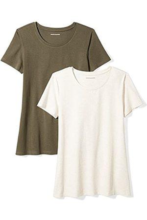 Amazon 2-pack Short-sleeve Crewneck Solid T-shirt (Olive/Oatmeal Heather)