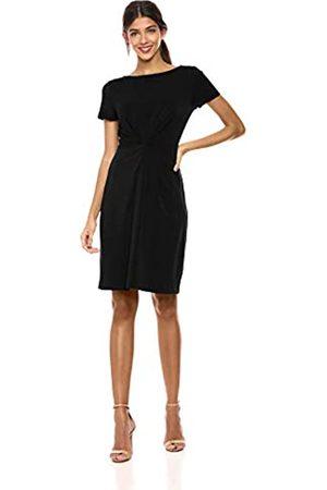 Lark & Ro Greg Women's Crepe Knit Short Sleeve Center Twist Dress