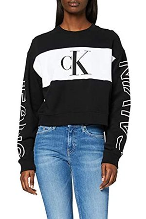 Calvin Klein Women's Blocking SATEMENT Logo Crew Neck Sweater, CK /Bright
