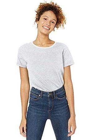 Goodthreads Vintage Cotton Roll-sleeve Open Crew T-shirt Cream Mini Stripe