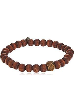 Ettika Men's Brown Wood Stretch Bracelet Large Brass Cornerless Bead