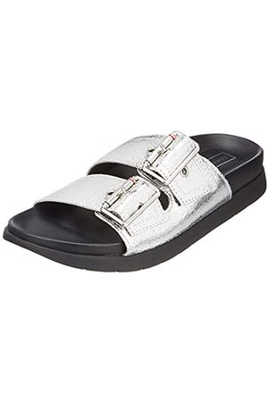 Tommy Hilfiger Women's Crackle Metallic Footbed Sandal Flip Flops, ( 000)