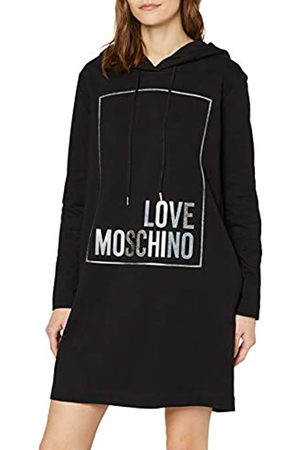 Love Moschino Women's Long Sleeve Hooded Stretch Fleece Dress_Logo Box Print