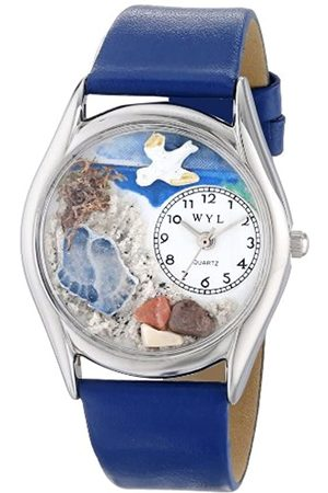 Whimsical Footprints Royal Blue Leather and Silvertone Unisex Quartz Watch with Dial Analogue Display and Leather Strap S-0710011