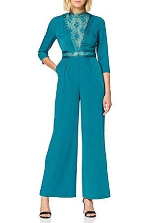 Little Mistress Women's Anja Kingfisher Lace-Trim Jumpsuit, Turquoise ( 001)