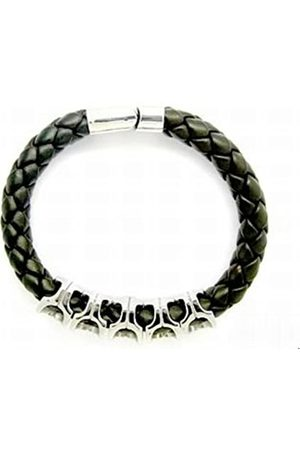 cored C24-schwarz Bracelet Leather Braided with Magnetic Clasp