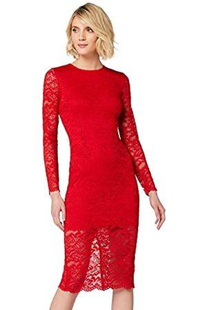 TRUTH & FABLE Amazon Brand - Women's Midi Lace Bodycon Dress, 14