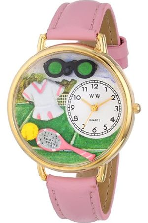 Whimsical Tennis Female Pink Leather and Goldtone Unisex Quartz Watch with Dial Analogue Display and Leather Strap G-0810008