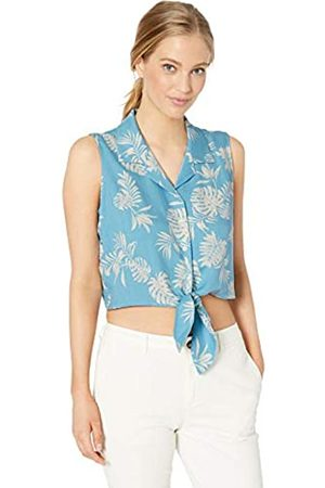 28 Palms Silk/Rayon Tropical Hawaiian Crop Top Button Down Shirt