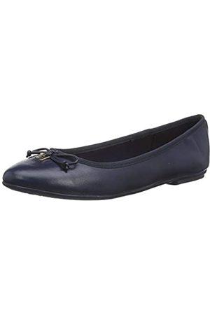 Tommy Hilfiger Women's Feminine Leather Knot Ballerina Pumps, (Sport Navy Db9)