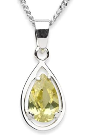 InCollections Women's and Children's Pendant 925/000 Sterling Silver with Zirconia Lime with Curb Chain 42 cm 2450200028401