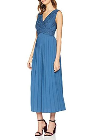 Little Mistress Women's Margot Lace Top Pleat Midaxi Dress Denim