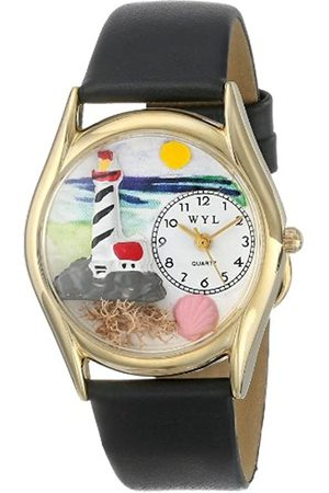 Whimsical Lighthouse Black Leather and Goldtone Unisex Quartz Watch with Dial Analogue Display and Leather Strap C-1210012