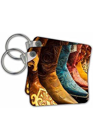 3dRose Arizona, Old Scottsdale, Line Up of New Cowboy Boots - Key Chains, 2.25-inch, Set of 2 Keyring