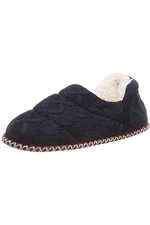 Dearfoams Women's Quilted Cable Knit Bootie Hi-Top Slippers, (Peacoat 00498)