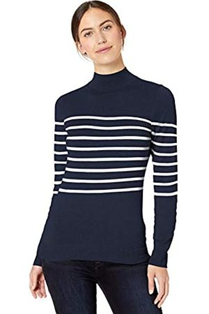 Amazon Essentials Lightweight Mockneck Sweater Navy/ Placed Stripe