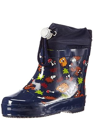 Playshoes Unisex Kid's Lined Wellies Rain Boot Animals Wellington Rubber, (Marine 11)