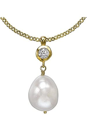 Dower & Hall Pearlicious Plated Topaz and Freshwater Pearl Pendant on Belcher Chain of 46cm