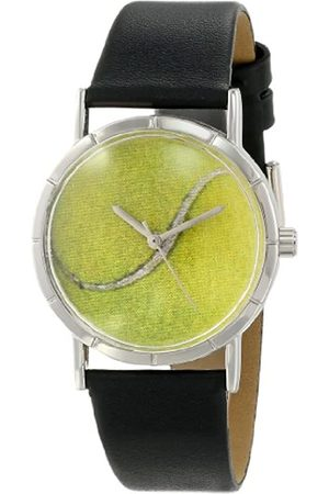 Whimsical Watches Tennis Lover Black Leather and Silvertone Photo Unisex Quartz Watch with Dial Analogue Display and Leather Strap R-0840011