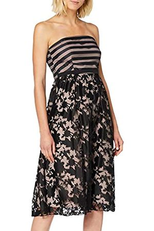Little Mistress Women's Elly Floral and Stripe Organza Midi Skater Dress Party