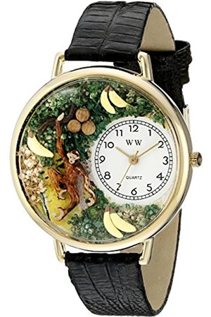 Whimsical Watches Monkey Black Skin Leather and Goldtone Unisex Quartz Watch with Dial Analogue Display and Leather Strap G-0150008