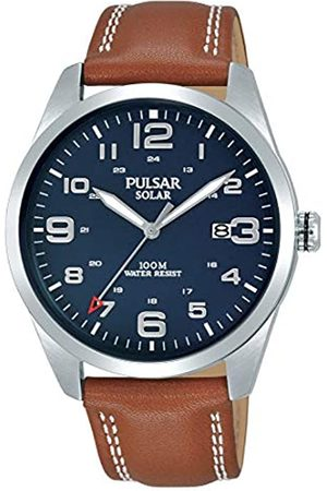 Pulsar Mens Analogue Solar Powered Watch with Leather Strap PX3189X1