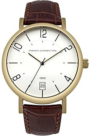 French Connection Men's Quartz Watch with Dial Analogue Display and Bronze Leather Strap FC1268TG