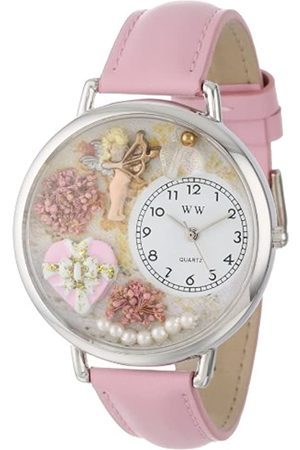 Whimsical Valentine's Day Pink Pink Leather and Silvertone Unisex Quartz Watch with Dial Analogue Display and Leather Strap U-1220024