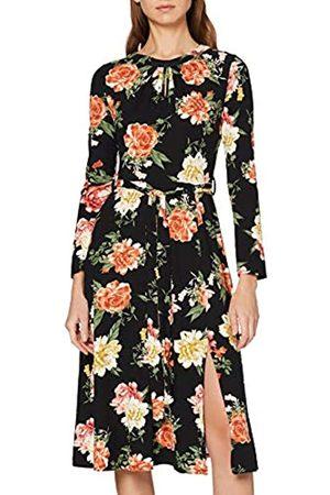 Dorothy Perkins Women's Large Floral Keyhole Jersey Midi Dress