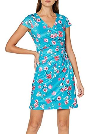 Yumi Women's Bird and Floral Wrap Ruched Dress Casual