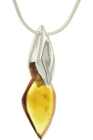 Nova Silver Deco Amber and Pendant with 46cm Snake Chain