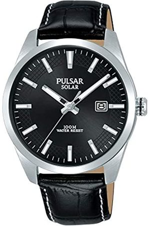 Pulsar Mens Analogue Solar Powered Watch with Leather Strap PX3185X1