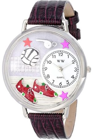 Whimsical Volleyball Purple Leather and Silvertone Unisex Quartz Watch with Dial Analogue Display and Leather Strap U-0820013