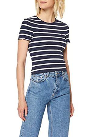 Tommy Hilfiger Women's Tjw Striped Babylock Tee Sports Knitwear, ( Iris/Classic 002)