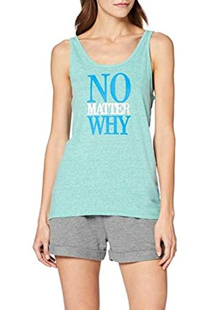 iNTiMUSe Women's Sports Tank Top with Print, Turquoise (Mint Melange)