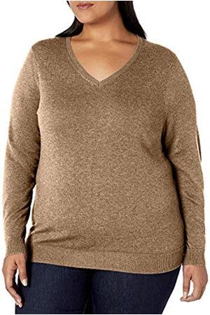 Amazon Plus Size Lightweight V-neck Sweater Camel Heather