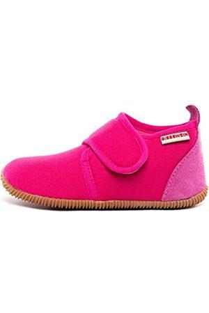 Giesswein Kids Slipper Strass Slim Fit Raspberry 24 - Houseshoes with Velcro Fastener for Boys & Girls, Unisex Children's Slippers Made of Cotton, Non-Slip