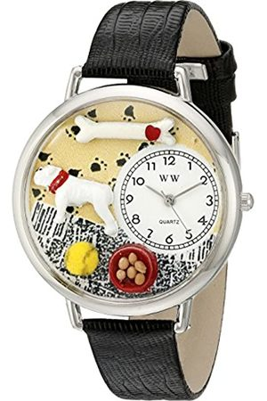 Whimsical Watches Bulldog Black Skin Leather and Silvertone Unisex Quartz Watch with Dial Analogue Display and Leather Strap U-0130018