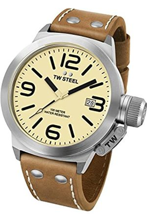 TW Steel Canteen Leather Unisex Quartz Watch with Yellow Dial Analogue Display and Brown Leather Strap CS11