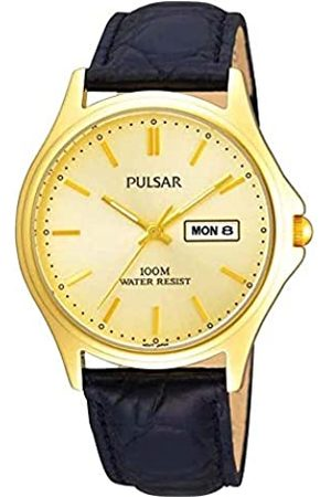 Pulsar Mens Analogue Classic Quartz Watch with Leather Strap PXF296X1