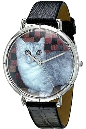 Whimsical Munchkin Cat Black Leather and Silvertone Photo Unisex Quartz Watch with Dial Analogue Display and Leather Strap T-0120047