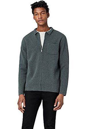 FIND Men's Textured Zip Through Cardigan