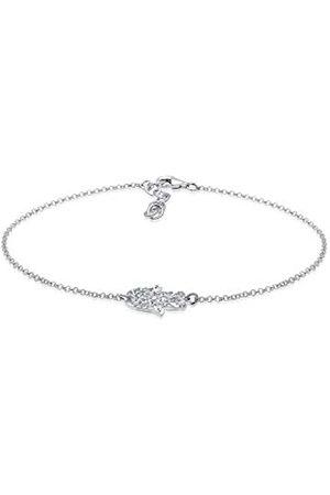 Elli Women's 925 Sterling Silver Hamsa Hand Fatima Swarovski Crystals Anklet - 22cm length