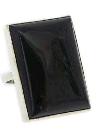 Nova Silver Bemine Large Rectangle Onyx Ring In Size N