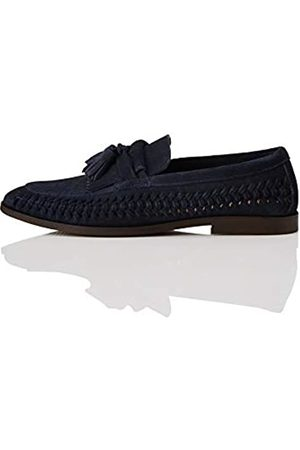 find. Woven Leather Loafers, Navy)