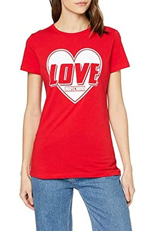 Love Moschino Women's Short Sleeve Jersey Stretch Heart & Turbo Logo Print T-Shirt