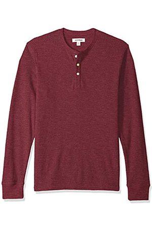 Goodthreads Men's Long-sleeve Slub Thermal Henley Shirt, Purple (burgundy)